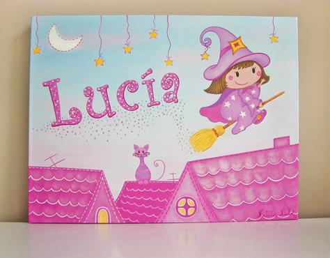 Cuadros infantiles :: Cuadro para Lucía. Temática Brujita.