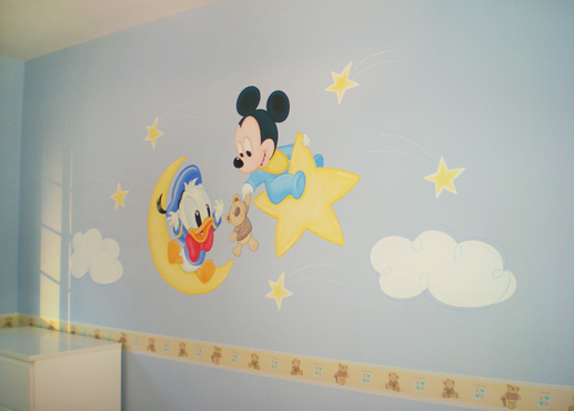 Mural mickey y donald beb s habitaci n de jorge for Phrases murales