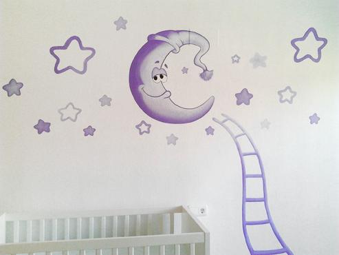 Mural luna y estrellas habitaci n de carla for Phrases murales